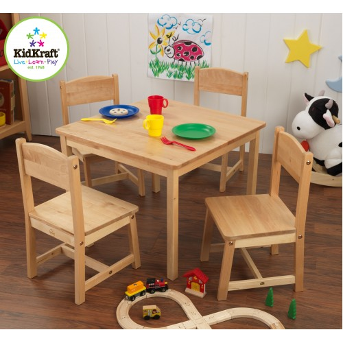 Kidkraft Farmhouse Table & 4 Chairs in Natural