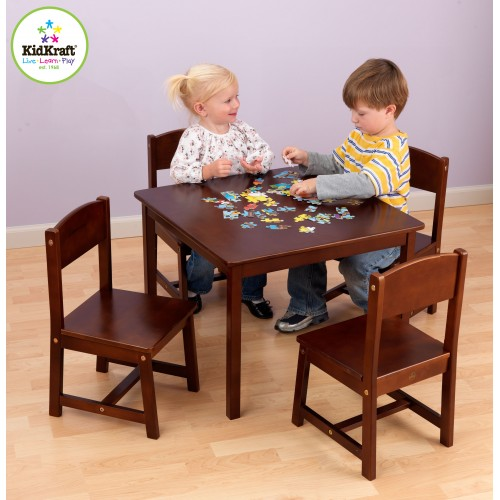 Kidkraft Farmhouse Table & 4 Chairs in Pecan