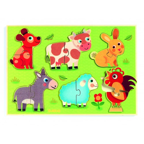 Djeco Coucou-Cow Animal Puzzle