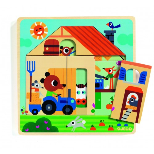 Djeco Chez Gaby Multi Layered Wooden Puzzle