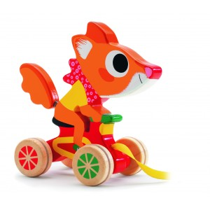 Djeco Scouic Fox Wooden Pull Along Toy