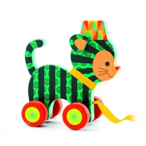 Djeco Neko Cat Wooden Pull Along Toy