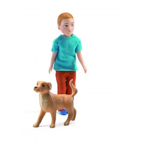 Djeco Xavier and Dog Dollhouse Figure