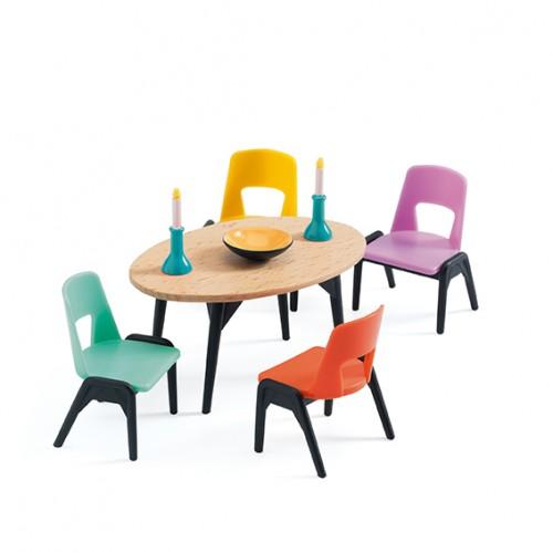 Djeco Dining Room Dollhouse Furniture Set
