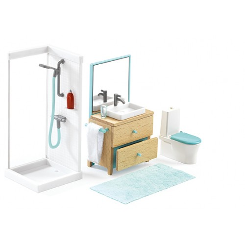 Djeco Bathroom Dollhouse Furniture Set