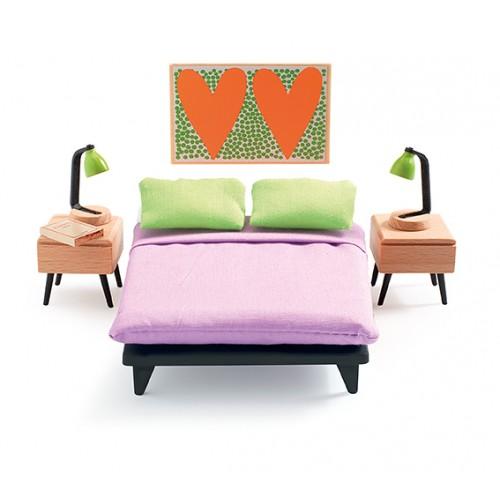 Djeco Parents Bedroom Dollhouse Furniture set