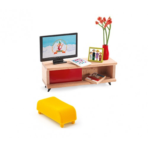 Djeco TV Room Dollhouse Furniture Set