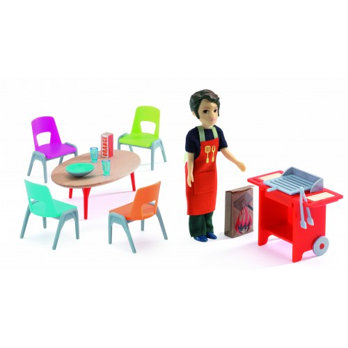 Djeco Barbacue and Accesories Dollhouse Set