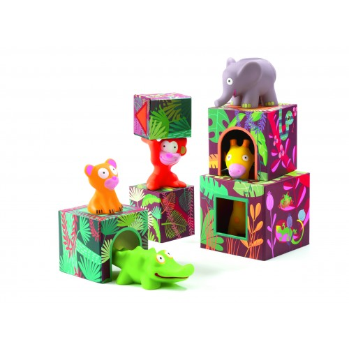 Djeco Maxi Topani Jungle Animals and Blocks