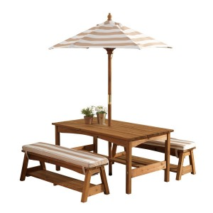 Kidkraft Outdoor Table and Benches with Cushions and Parasol - Espresso