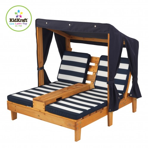 Kidkraft double chaise lounger with canopy kidkraft for Canopy chaise lounge