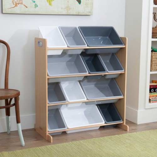 Kidkraft Sort It and Store It Bin Unit - Gray and Natural