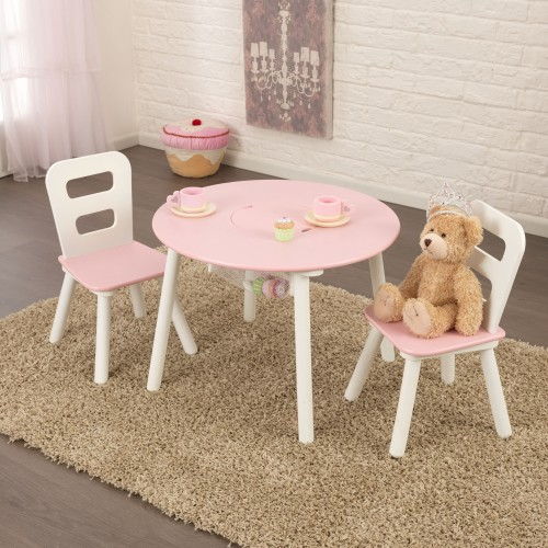 Kidkraft Pink Round Storage table and Chair Set