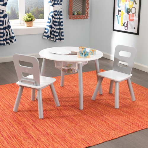 Kidkraft Gray Round Storage Table and Chairs