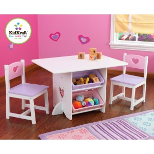 Kidkraft Heart Play Table with storage boxes