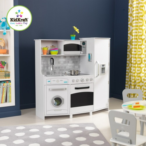 kidkraft large play kitchen with lights and sounds kidkraft uk. Black Bedroom Furniture Sets. Home Design Ideas