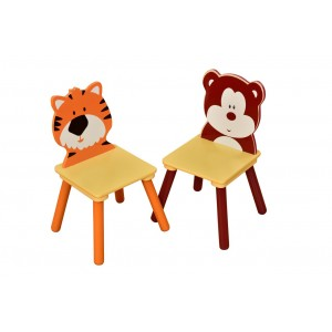 Jungle Tiger and Bear Pair of Chairs