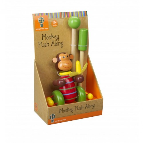 Orange Tree Toys Wooden Push Along Monkey