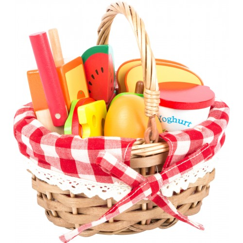 Small Foot Picnic Basket With Food and Cutting Fruit
