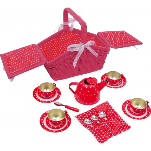 Small Foot Hearts and Dots Picnic Basket