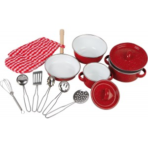 Small Foot Red Cookware Pan Set
